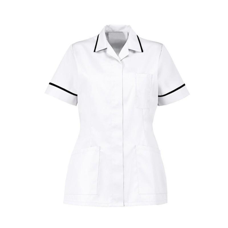 Women's Tunic (White With Black Trim) - D313