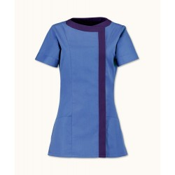 Women's Asymmetrical Tunic (Metro Blue with Navy Trim) - NF191