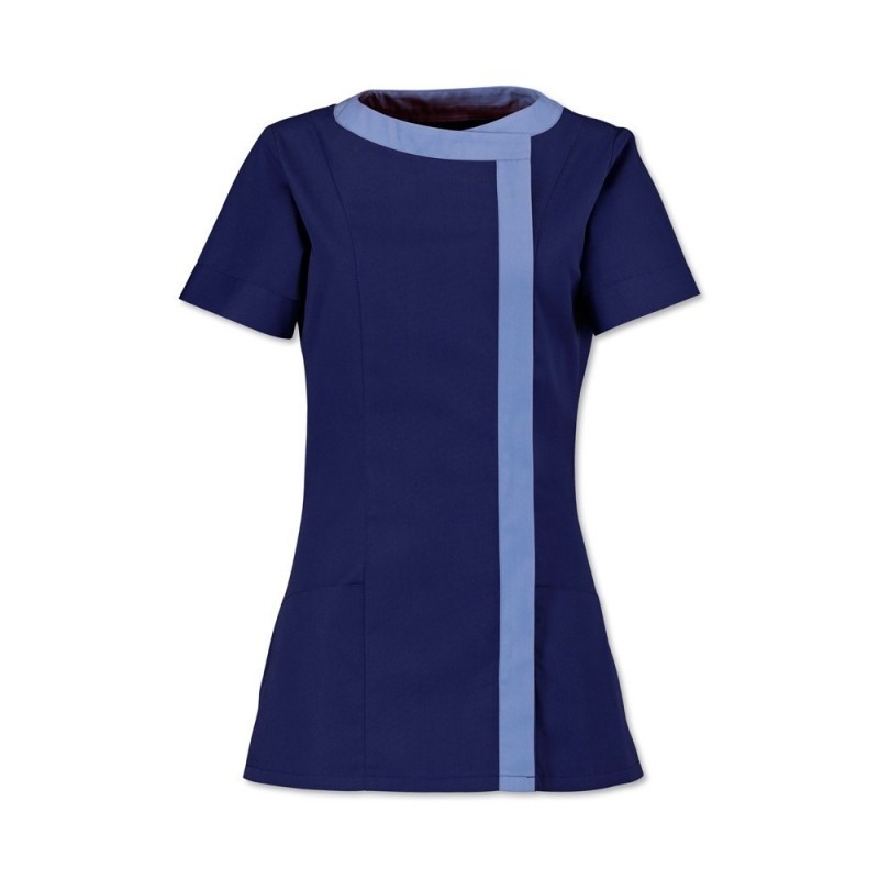 Women's Asymmetrical Tunic (Navy Blue With Metro Trim) - NF191