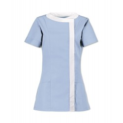 Women's Asymmetrical Tunic (Pale Blue with White Trim) - NF191