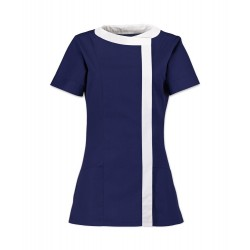 Women's Asymmetrical Tunic (Navy Blue with White Trim) - NF191