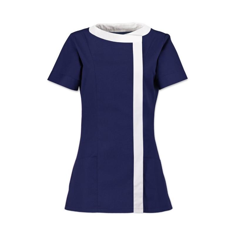 Women's Asymmetrical Tunic (Navy Blue With White Trim) - NF191
