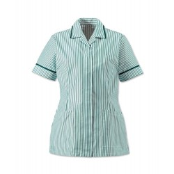 Women's Lightweight Stripe Tunic (Aqua/White with Bottle Green Trim) - HO137