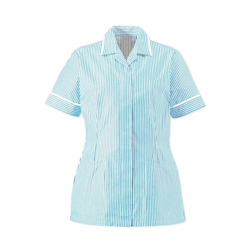 Women's Lightweight Stripe Tunic (Blue/White With White Trim) - HO137