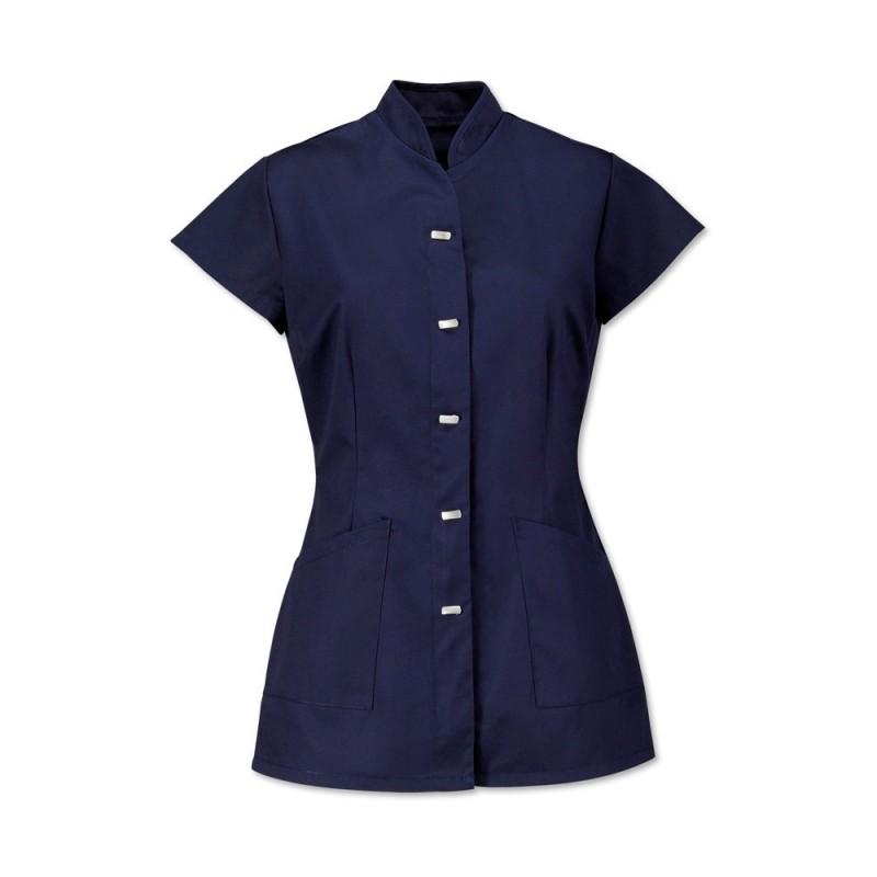 Women's Mock Fastening Tunic (Navy) - NF969