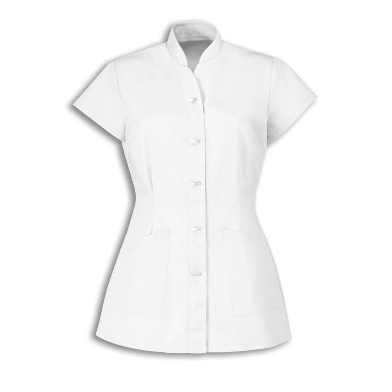 Women's Mock Fastening Tunic (White) - NF969