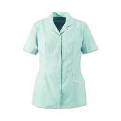 Women's Soft-Brushed Tunic (Aqua with White Trim) - D309