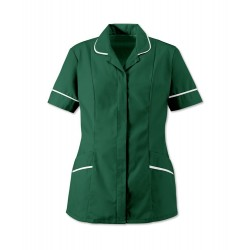 Women's Soft-Brushed Tunic (Bottle Green with White Trim) - D309