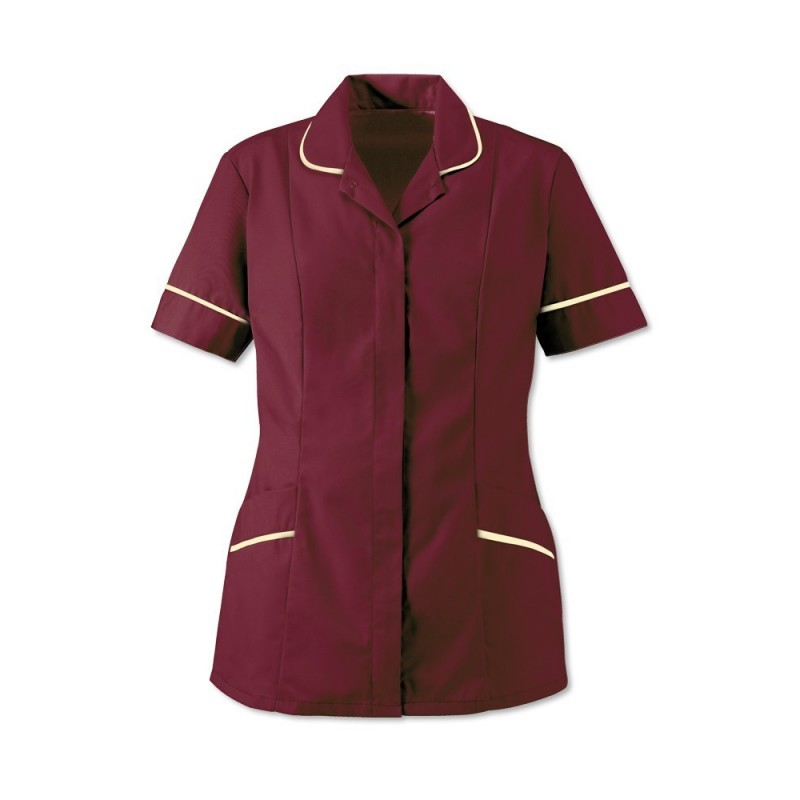 Women's Soft-Brushed Tunic (Burgundy With Cream Trim) - D309