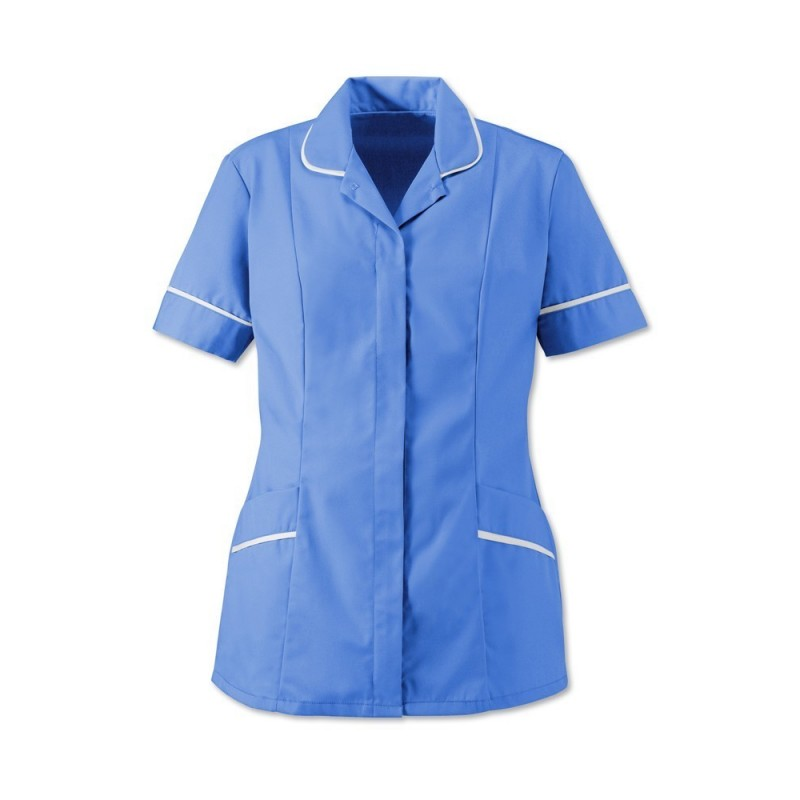 Women's Soft-Brushed Tunic (Hospital Blue With White Trim) - D309
