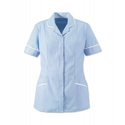 Women's Soft-Brushed Tunic (Pale Blue with White Trim) - D309