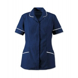 Women's Soft-Brushed Tunic (Navy Blue with White Trim) - D309