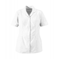 Women's Soft-Brushed Tunic (White with White Trim) - D309
