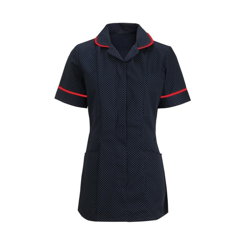 Women's Spot Tunic (Navy Blue & White With Red Trim) HF719