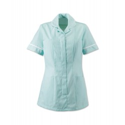 Women's Stripe Healthcare Tunic (Aqua with White Trim) - ST298