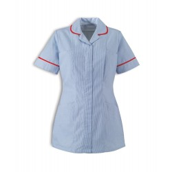Women's Stripe Healthcare Tunic (Blue with Red Trim) - ST298