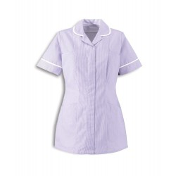 Women's Stripe Healthcare Tunic (Lilac with White Trim) - ST298