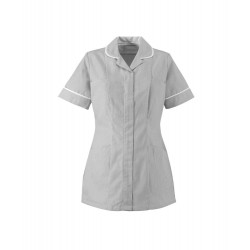 Women's Stripe Healthcare Tunic (Pale Gray with White Trim) - ST298