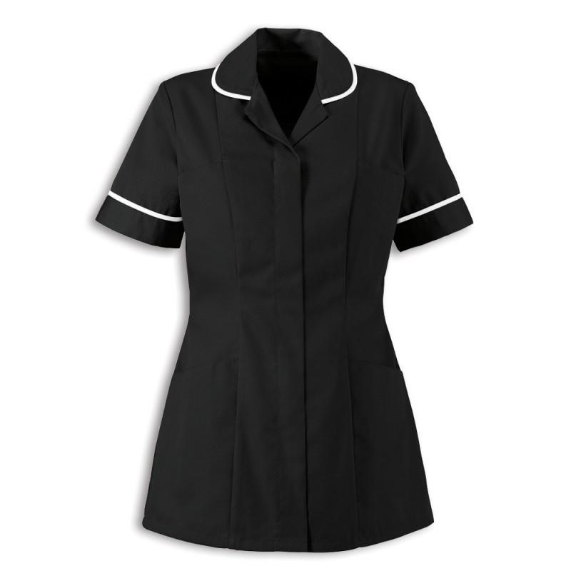 Women's Healthcare Tunic (Black With White Trim) - HP298