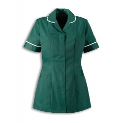 Women's Healthcare Tunic (Bottle Green with White Trim) - HP298