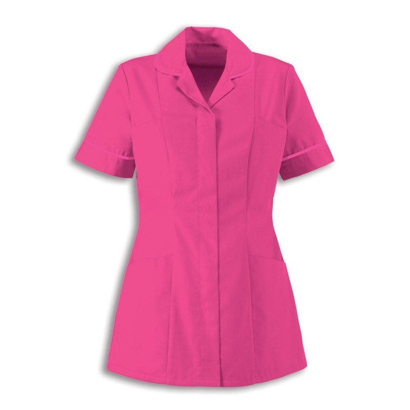 Women's Healthcare Tunic (Bright Pink With White Trim) - HP298