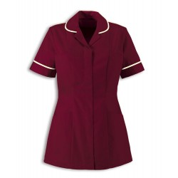 Women's Healthcare Tunic (Burgundy with Cream Trim) - HP298