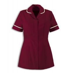 Women's Healthcare Tunic (Burgundy with Cream Trim) - HP298
