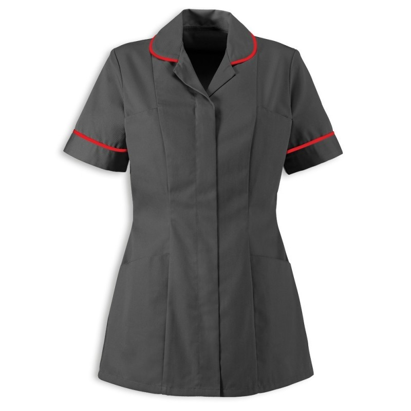 Women's Healthcare Tunic (Convoy Grey With Red Trim) - HP298