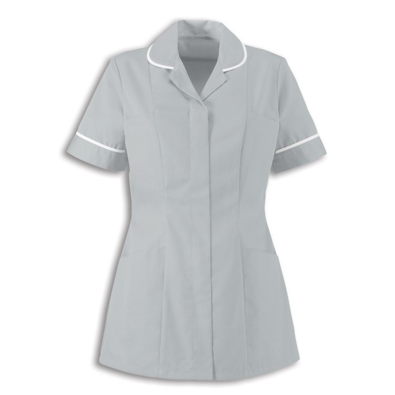 Women's Healthcare Tunic (Pale Grey With White Trim) - HP298