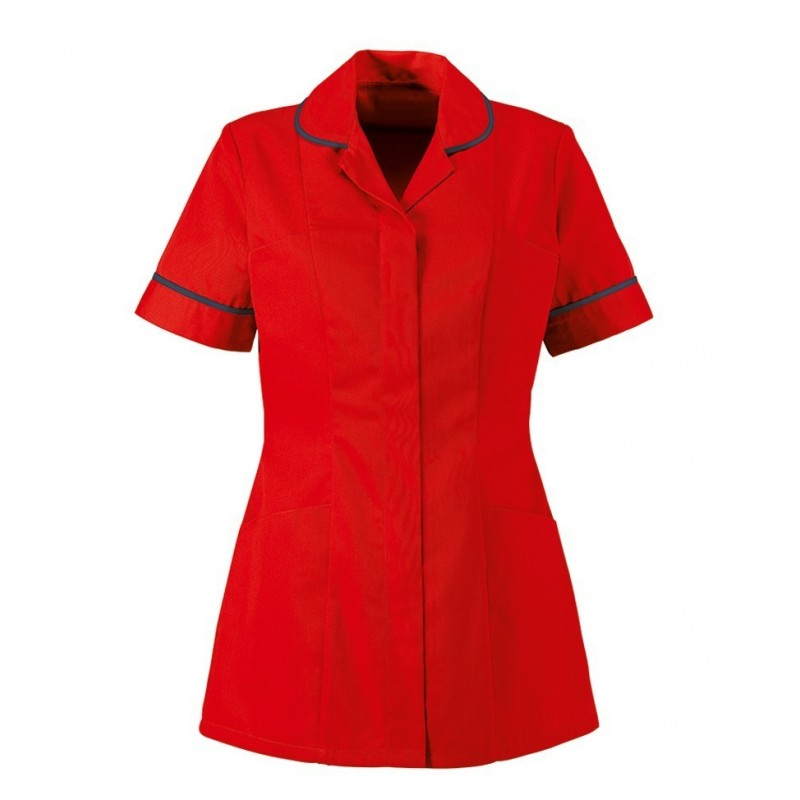 Women's Healthcare Tunic (Red With Navy Trim) - HP298