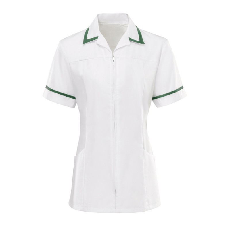 Women's Zip Front Tunic (White With Bottle Green Trim) - HS271