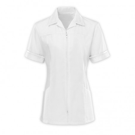 Women's Zip Front Tunic (White With White Trim) - HS271