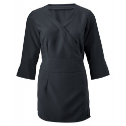 Women's 3/4 Sleeve Wrap Tunic (Black) - NF83
