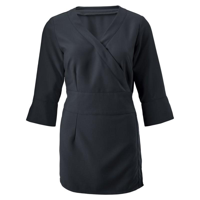 Women's 3/4 Sleeve Wrap Tunic (Black) - NF83