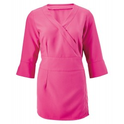Women's 3/4 Sleeve Wrap Tunic (Hot Pink) - NF83