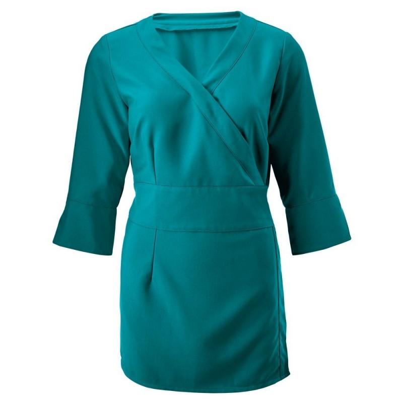 Women's 3/4 Sleeve Wrap Tunic (Lagoon) - NF83