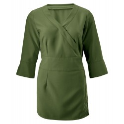 Women's 3/4 Sleeve Wrap Tunic (Olive) - NF83