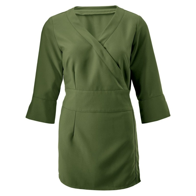 Women's 3/4 Sleeve Wrap Tunic (Olive) - NF83