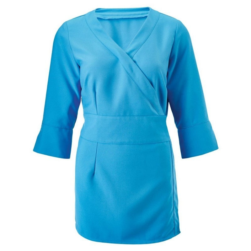 Women's 3/4 Sleeve Wrap Tunic (Peacock) - NF83