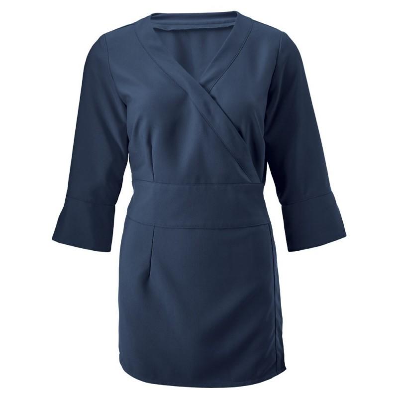 Women's 3/4 Sleeve Wrap Tunic (Sailor Navy) - NF83