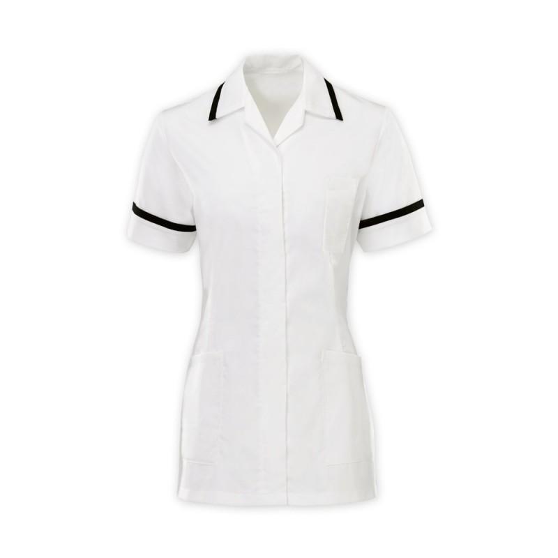 Women's Comfort Stretch Tunic (White With Black Trim) H152W
