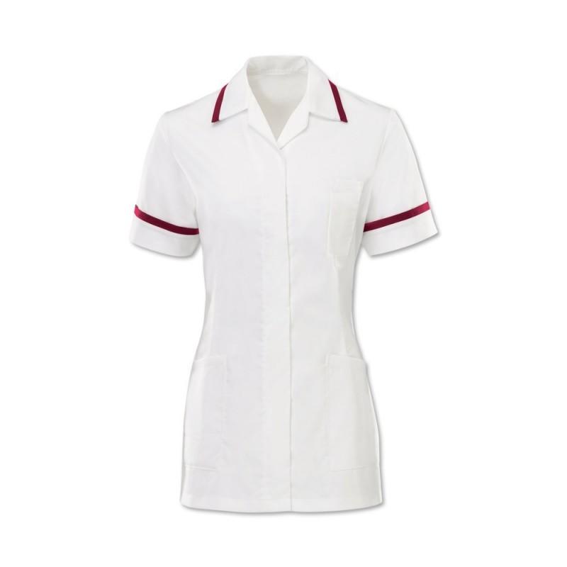 Women's Comfort Stretch Tunic (White With Burgundy Trim) H152W