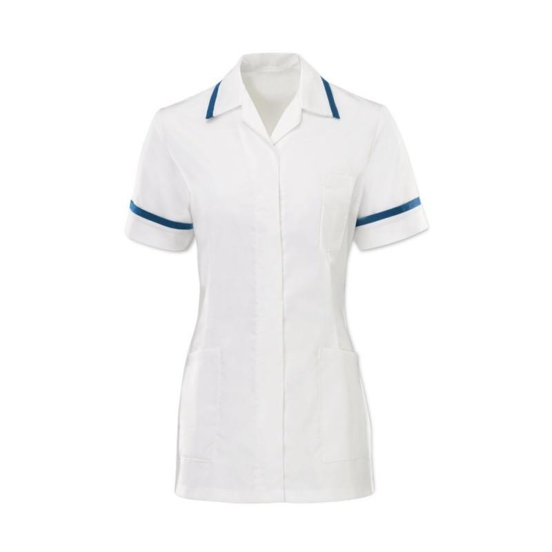 Women's Comfort Stretch Tunic (White With Royal Box Trim) H152W