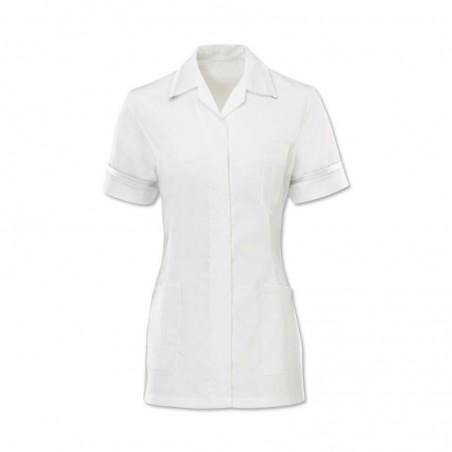 Women's Comfort Stretch Tunic (White With White Trim) H152W