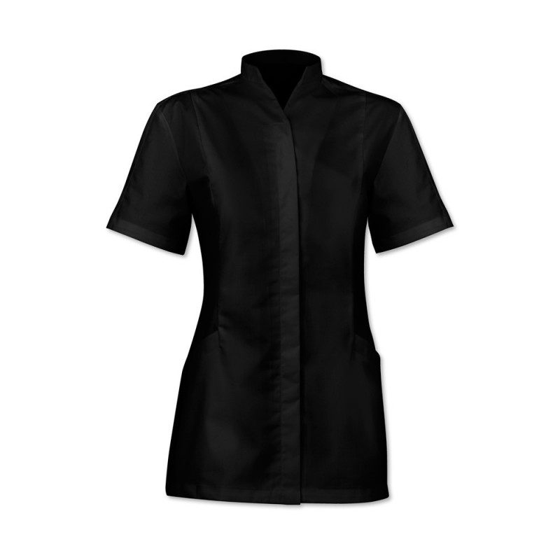 Women's Concealed Button Tunic (Black) - 2251