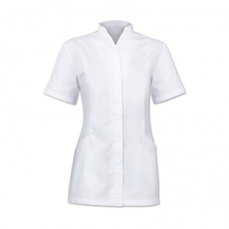 Women's Concealed Button Tunic (White) - 2251