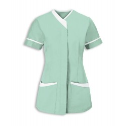 Women's Contrast Trim Tunic (Aqua with White Trim) - NF54