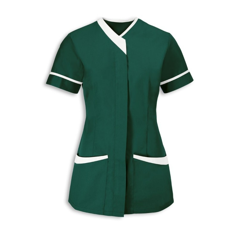 Women's Contrast Trim Tunic (Bottle Green With White Trim) - NF54