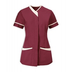 Women's Contrast Trim Tunic (Burgundy with Cream Trim) - NF54
