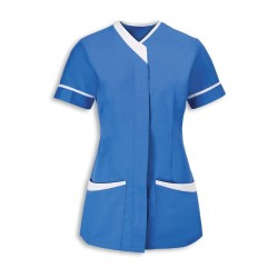 Women's Contrast Trim Tunic (Hospital Blue with White Trim) - NF54